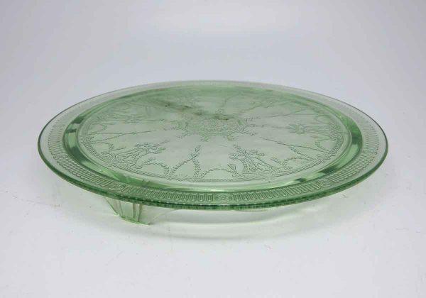 Dark Green Glass Cake Plate