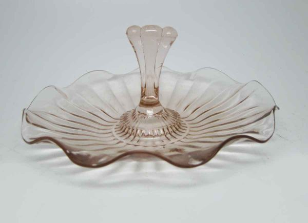 Pink Glass Candy Dish with Handle
