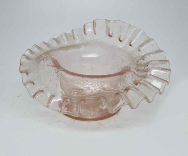 Pink Ruffled Glass Bowl