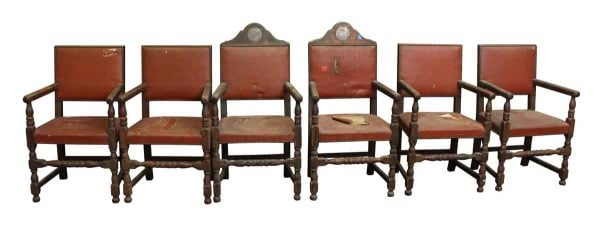 Set of Six Salvaged American Legion Chairs