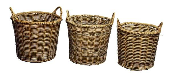 Set of Straw Flower Baskets with Handles