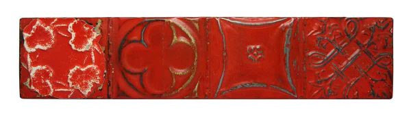 Red Shellac Tin Mixed Pattern Long Panel