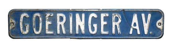Goeringer Ave Metal Street Sign