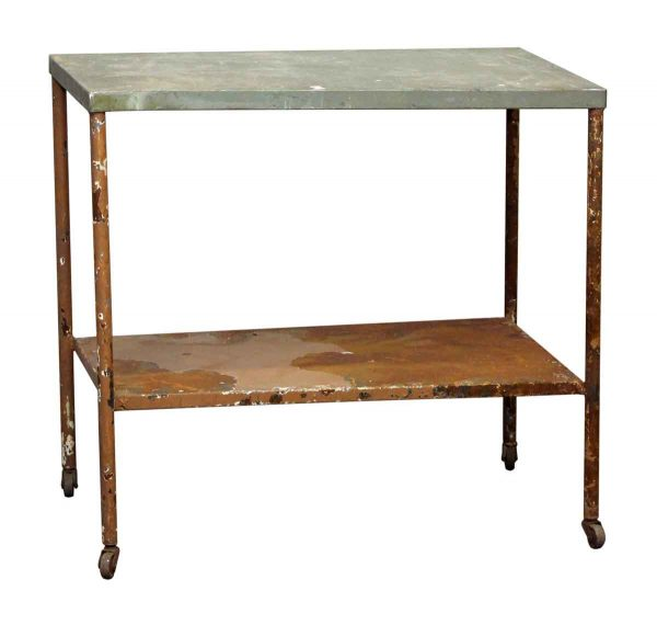 Metal Wheeled Cart Table