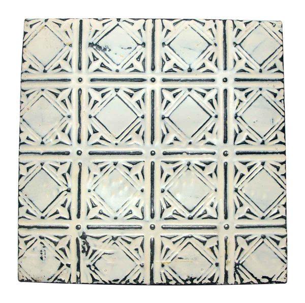 Geometric Antique White Tin Panel