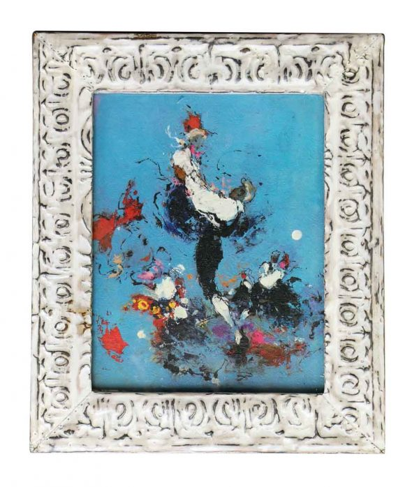 Abstract Painting with Antique Tin Frame