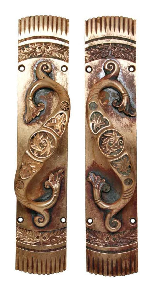 Pair of Ornate Bronze Matching Door Pulls