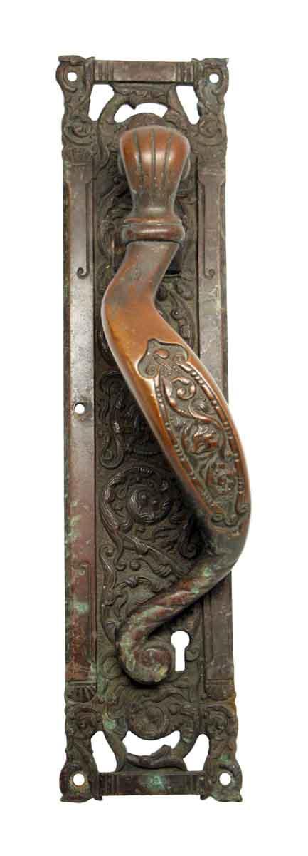 Columbian Pattern Cast Bronze Single Front Door Pull