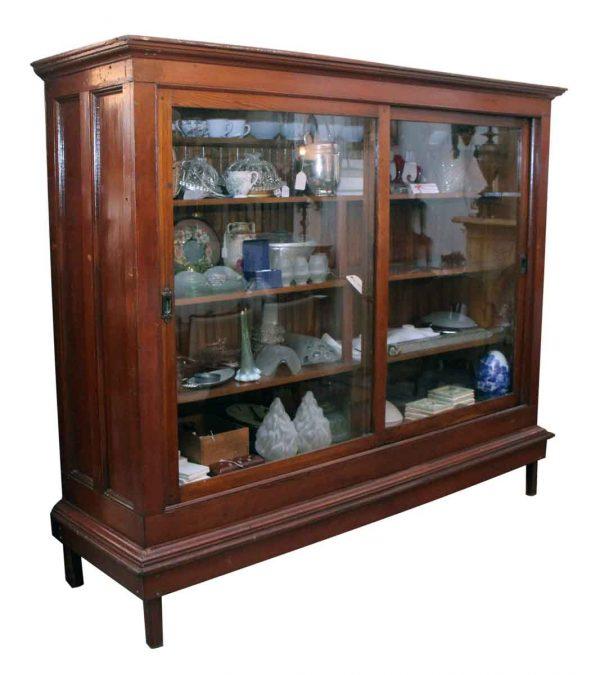 Sliding Glass Doors Wood Storage Cabinet
