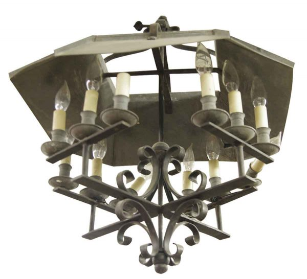 Wrought Iron 12 Light Arts & Crafts Chandelier