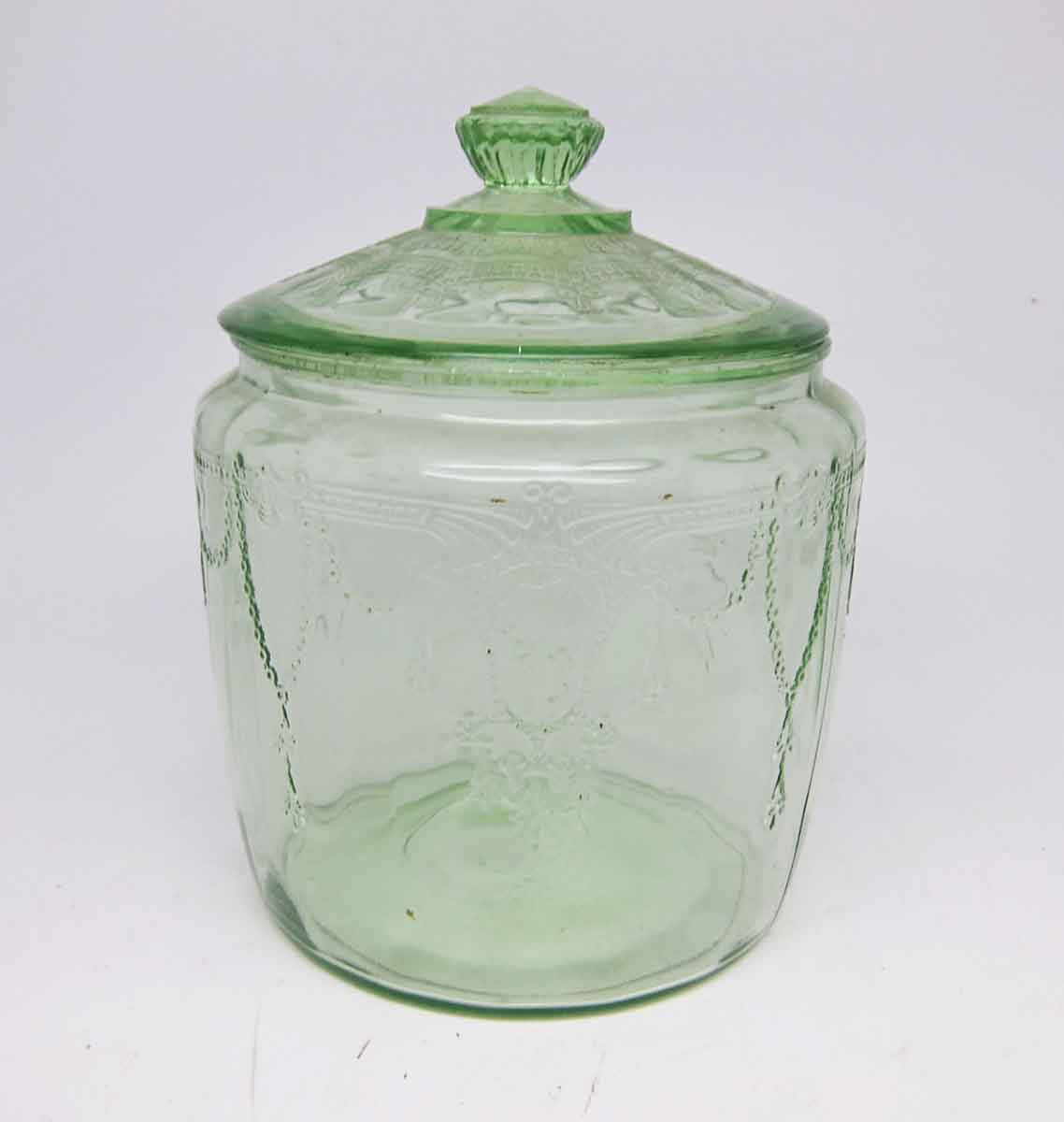 Clear light green vintage glass jar with lid olde good for Glass jar kitchen ideas