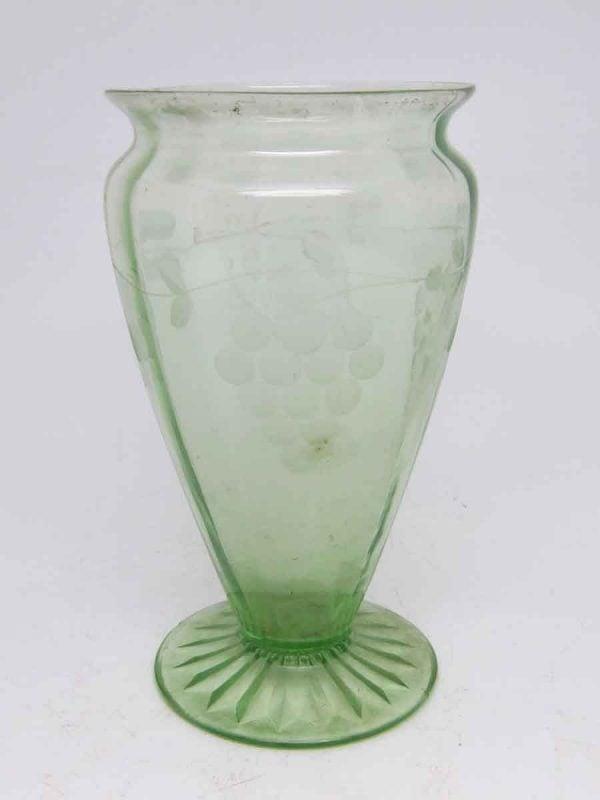 Light Green Detailed Vintage Glass Vase