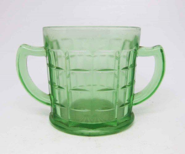 Vintage Green Glass Double Handle Mug