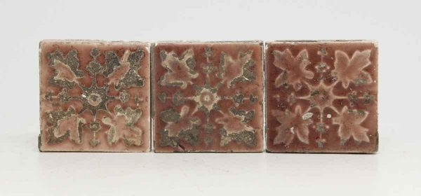 Set of Three Pink Leaf Tiles