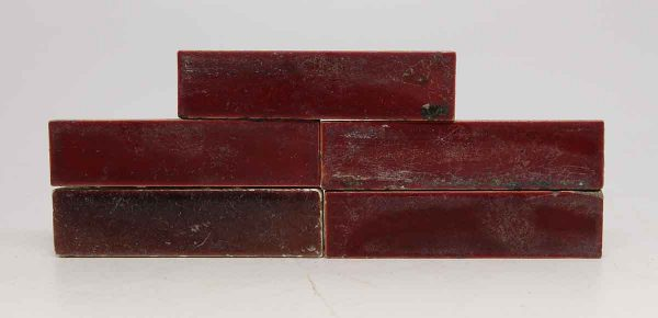 Set of Five Deep Red Tiles