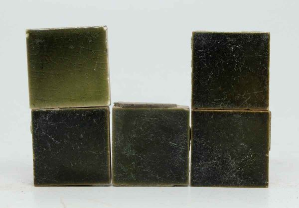 Set of Five Small Green Crackled Tiles