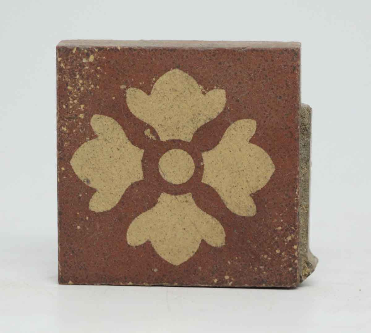 Set Of Four Clover Square Burgundy Tiles Olde Good Things