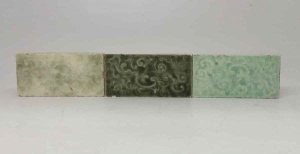 Trio of Green Decorative Crackled Tiles