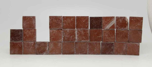 Set of 27 Orange Red Small Shiny Square Tiles