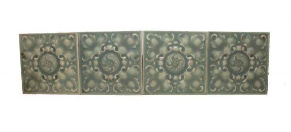 Set of Eight Raised Green Tiles