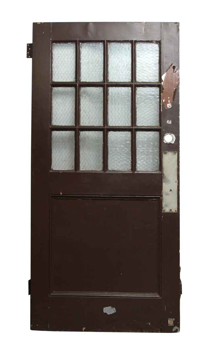 Wooden doors with chicken wire glass panels olde good things for Wooden door with glass panel