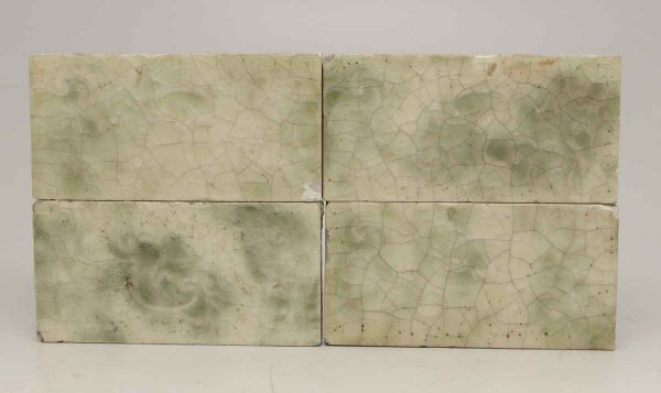 Set of Four Green Crackled Tiles