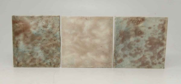 Set of Three Multi Color Crackled Square Tiles