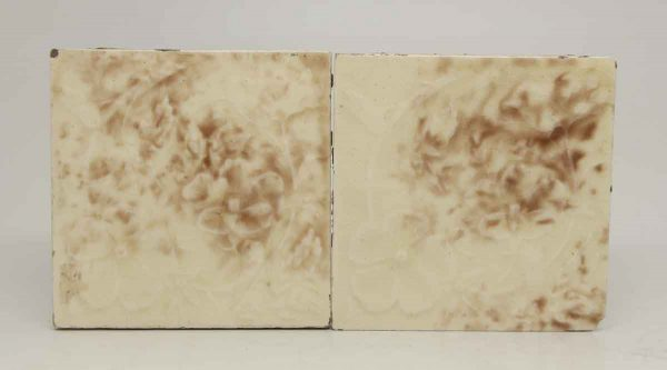 Pair of Floral Off White & Brown Tiles