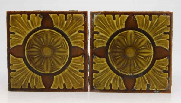 Pair of Gold Flower Burst Decorative Tiles