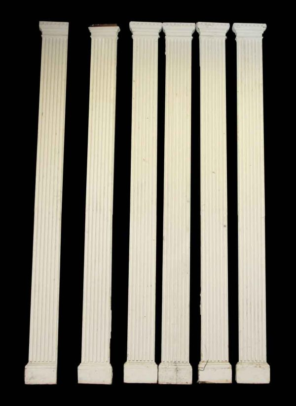 Set of Six White Greek Key Wood Pillars