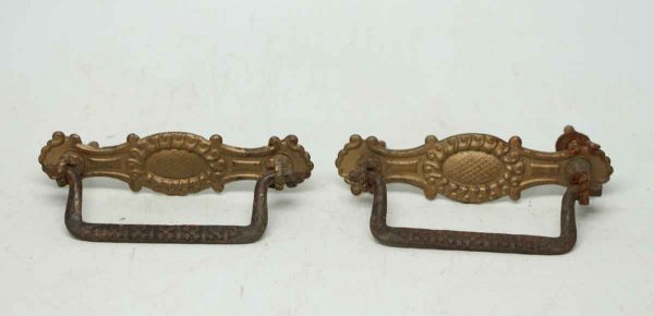 Pressed Brass Drawer Pulls with Ornate Design