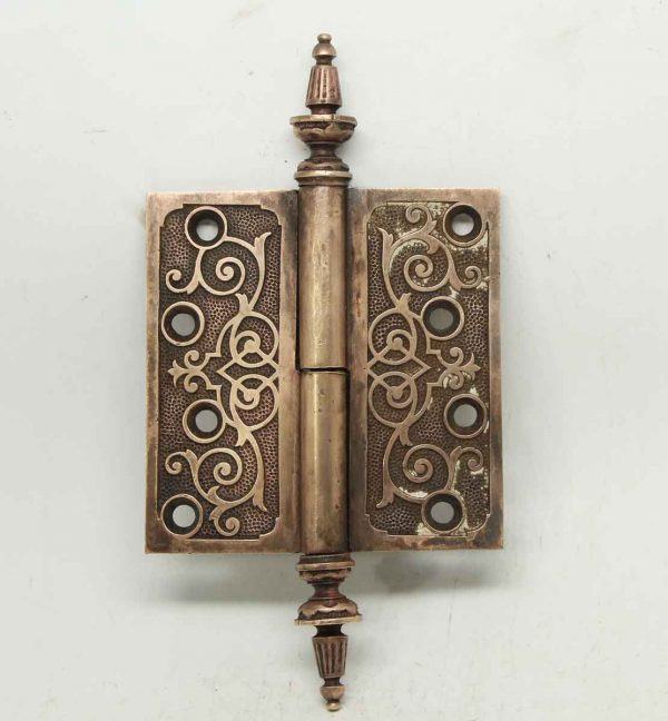 Ornate Bronze Hinge with Steeple Tips
