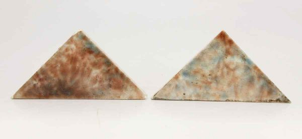 Pair of Colorful Blue & Brown Triangular Tiles