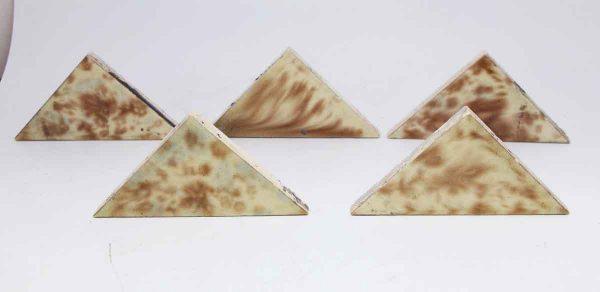 Set of 10 Crackled Blue & Brown Triangular Tiles
