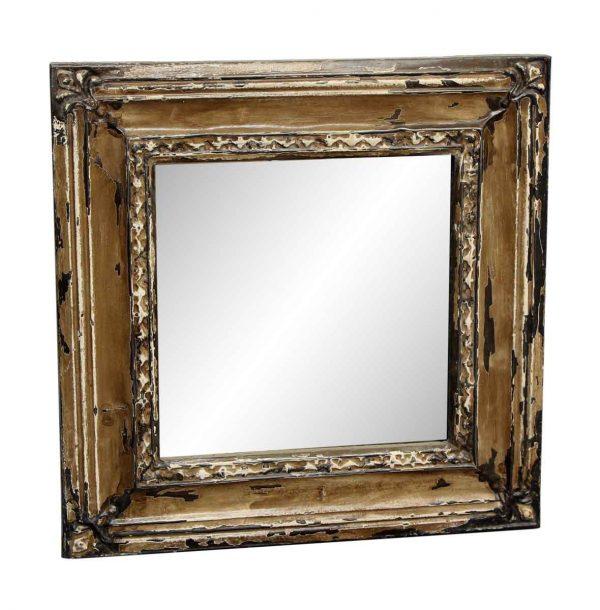 Beige Tin Mirror with Corner Tulip Design