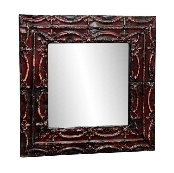 Burgundy Floral Tin Mirror with Ribbon Design