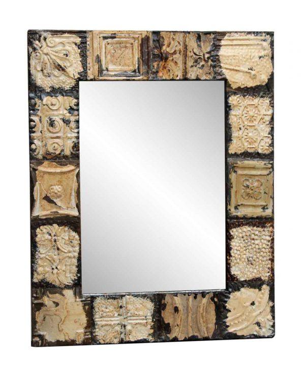 Mixed Pattern Beige & Tan Tin Mirror