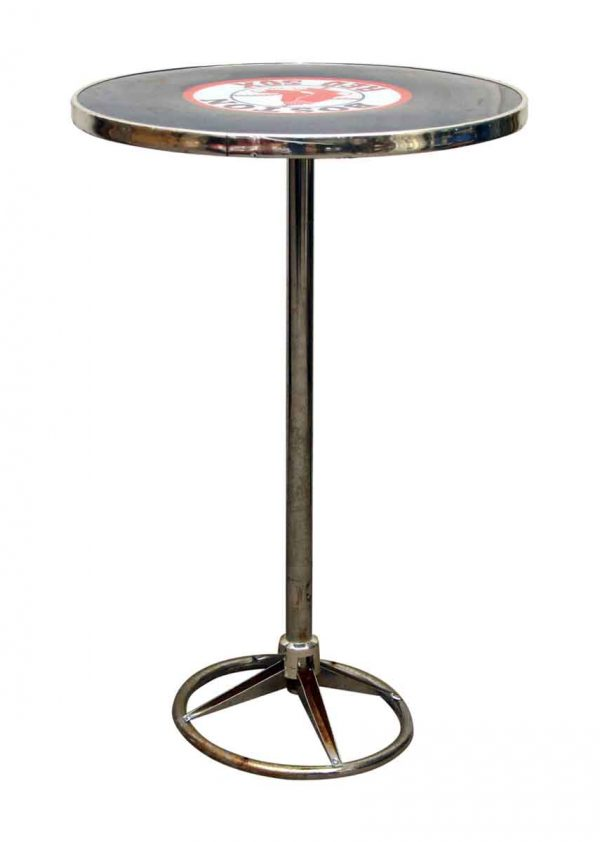 Round Red Sox Bar Top Table