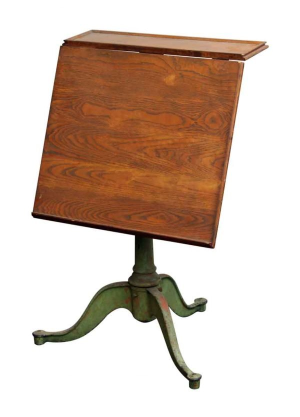 Drafting Table with Green Iron Base