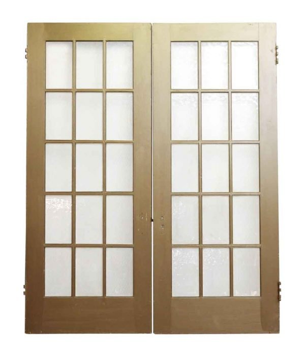 Pair of Gold Painted Wood Doors with 15 Textured Glass Lites