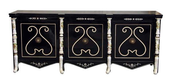 Black Wooden Console with Decorative Ceramic Posts