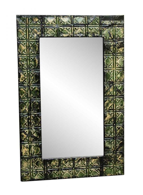 Green Tin Panel Mirror with Diamond Square Design