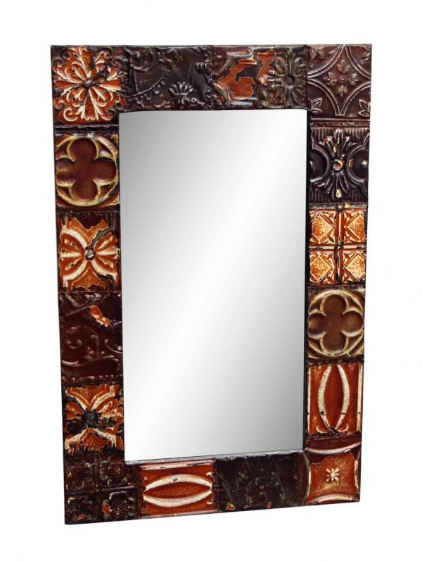 Brown Tin Panel Mirror with Mixed Patterns