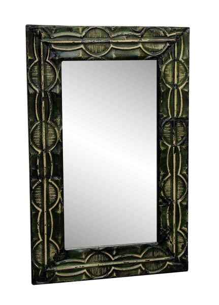 Green Tin Mirror with Dumbbell Design