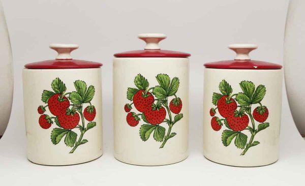 Ceramic Strawberry Jar Trio with Red Lids