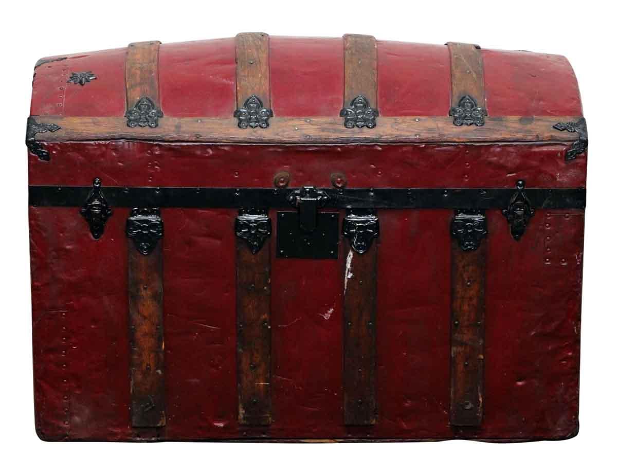 Red Vintage Storage Trunk With Ornate Hardware Olde Good