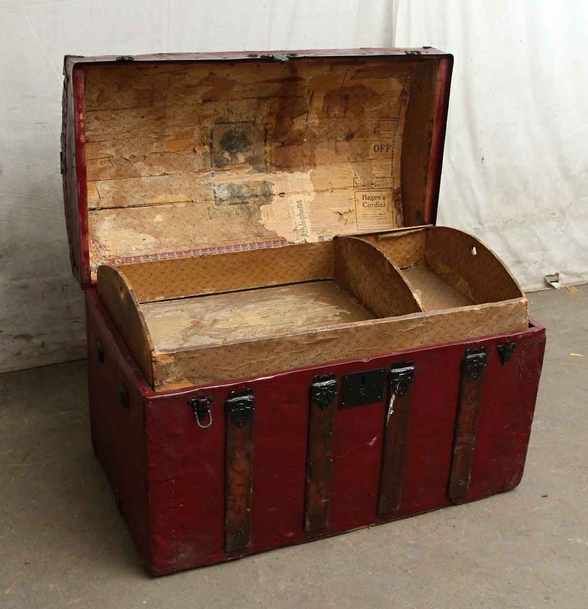 Red Vintage Storage Trunk With Ornate Hardware