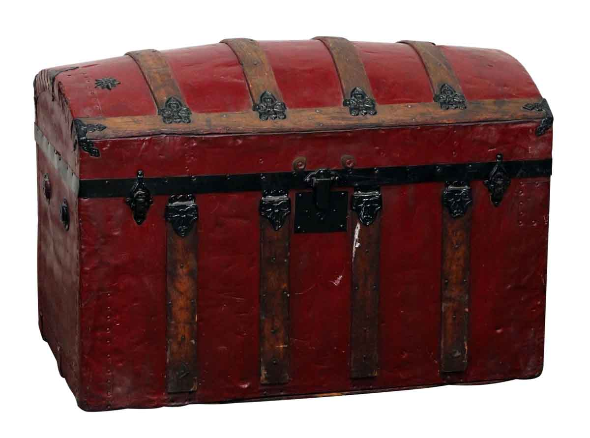 Red vintage storage trunk with ornate hardware olde good for Storage treasures