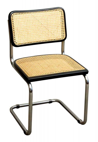 Set of Nine Armless Wicker and Metal Chairs