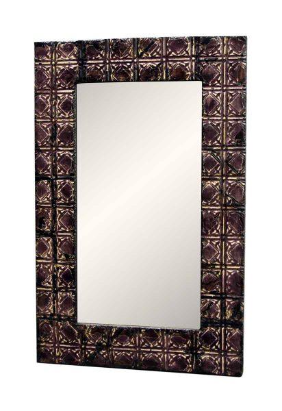 Purple Tin Mirror with Square Design
